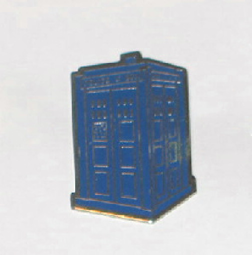 Doctor Who Fan Club Tardis Police Box Cloisonne Metal Pin (c) 1982 NEW UNUSED