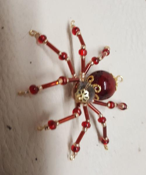 Small Steampunk Beaded Blood Red Spider picture