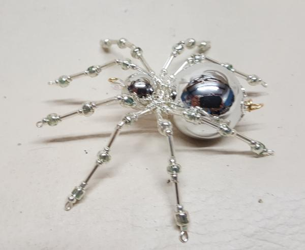 Metallic Christmas Beaded Silver Spider picture