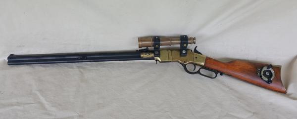 "Steampunk 1860 Lever Action ""Henry"" Rifle Non Firing Replica W/Scope"