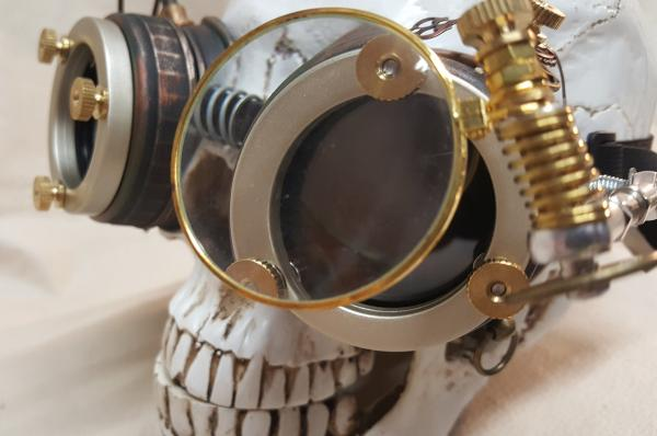 Steampunk Engineer Goggles With Large Magnifying Loupe picture