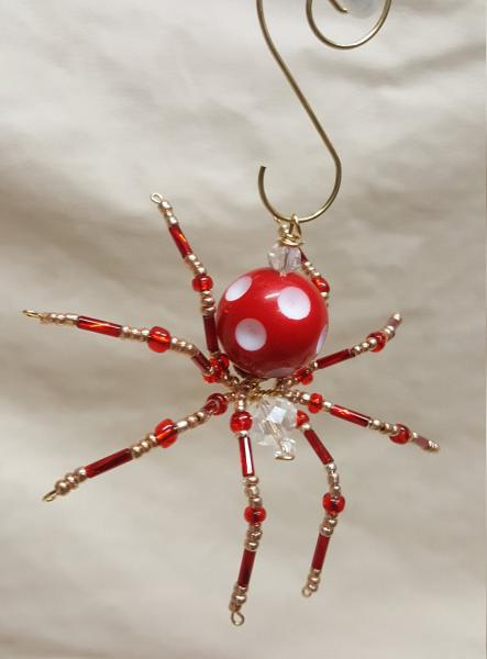 Steampunk Beaded Red/White Dimpled Spider