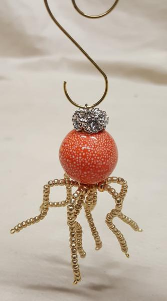 Orange Crowned Speckled Steampunk Beaded Octopus