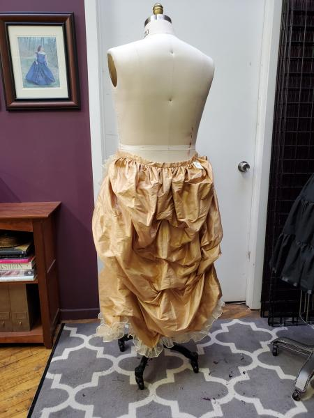 Gold Silk Bustle with Ruffle- LIMITED