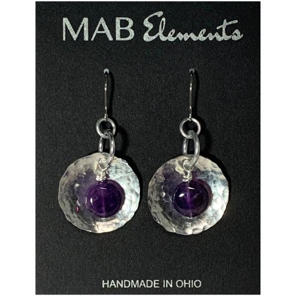 Hammered Dome and Amethyst Earrings