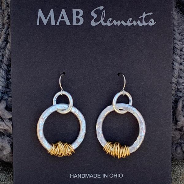 Mixed Metal Hammered Hoop Earrings picture