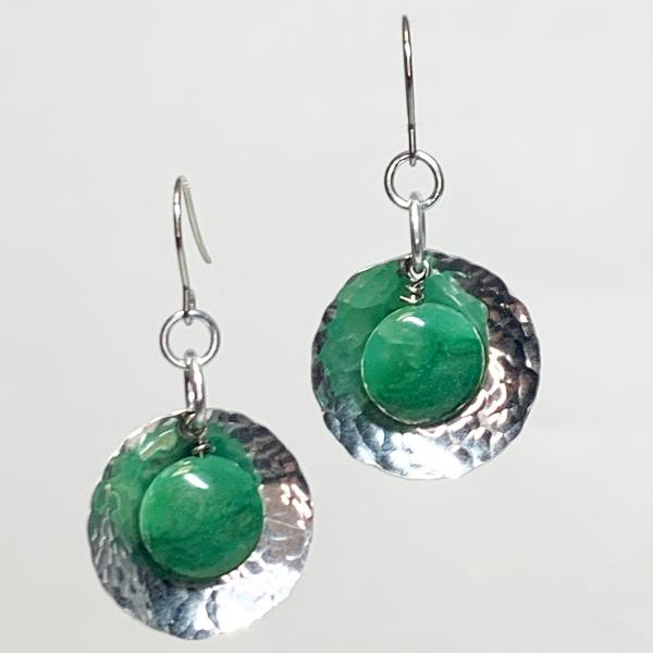 Hammered Dome and African Aventurine Earrings