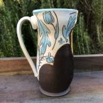 blue floral tall mug, soda fired