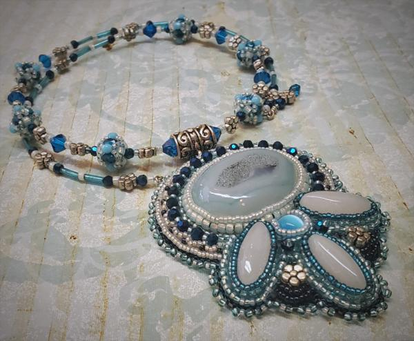 Icy Blue Bead Embroidery Pendant Necklace