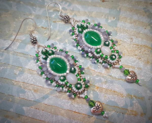 Wintergreen Bead Embroidery Earrings