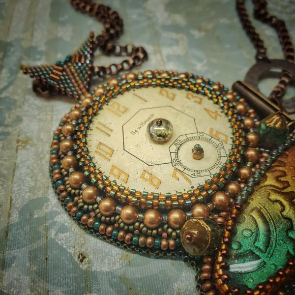 Timepiece Bead Embroidery Necklace picture