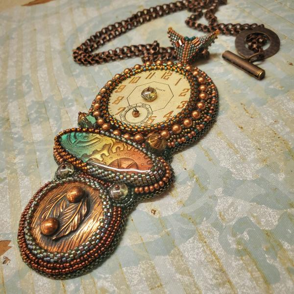 Timepiece Bead Embroidery Necklace