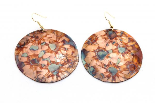 Flame Painted Round Copper Earrings - 1.5""