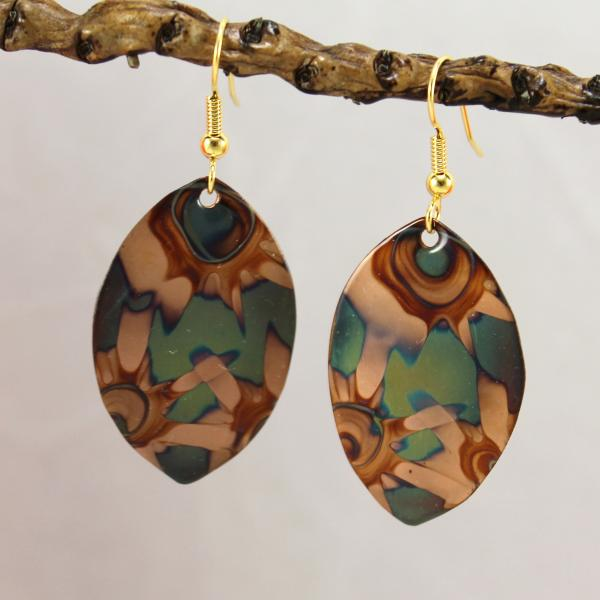Flame Painted Copper Earrings - Footballs