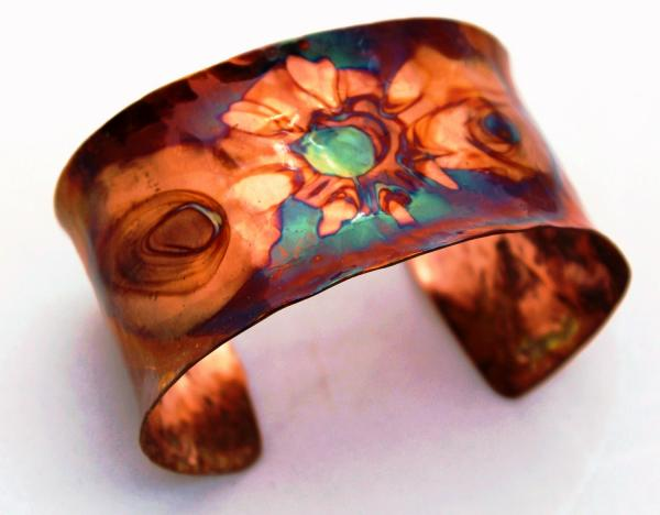 Flame Painted Dished Copper Cuff - 1.5 - inch width