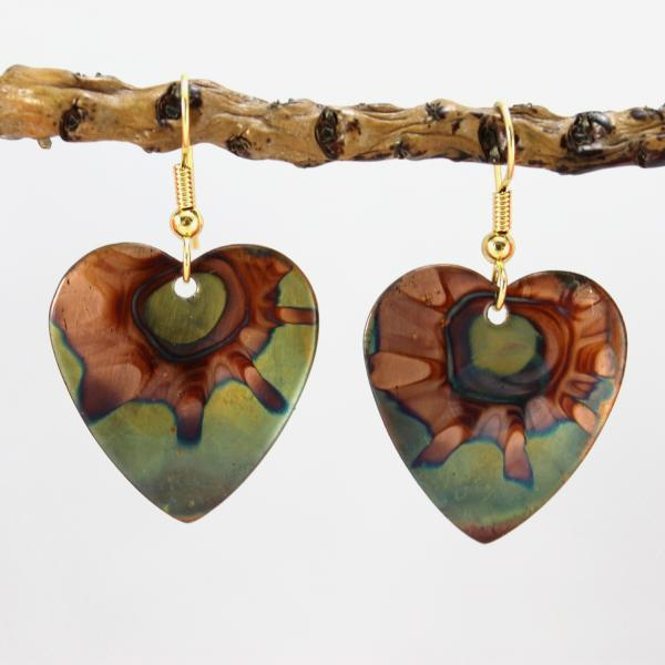Flame Painted Copper Earrings - Hearts
