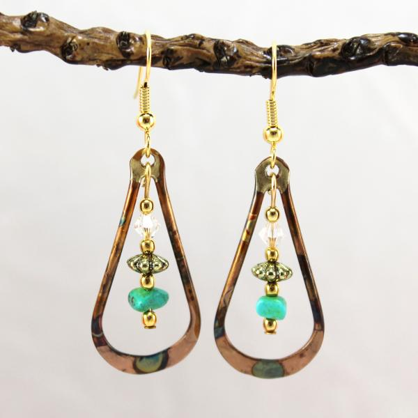 Flame Painted Copper Earrings with Turquoise and Crystal