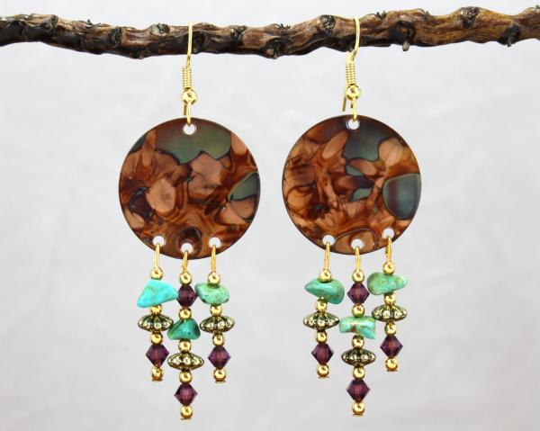 Flame Painted Copper Chandelier Earrings with Amethyst Crystal and Turquoise