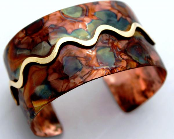 Flame Painted Domed Copper Cuff  with Brass Overlay - 1.5 - inch width