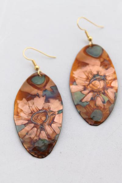 Flame Painted Copper Earrings - Hammered Ovals