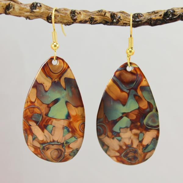 Flame Painted Copper Earrings - Green Tones