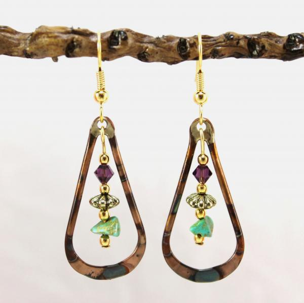 Flame Painted Copper Earrings with Turquoise and Amethyst Crystal