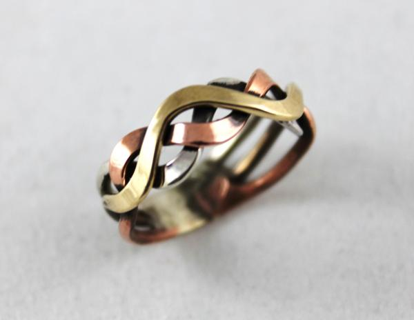 Sterling Silver, Copper and Brass Woven Ring
