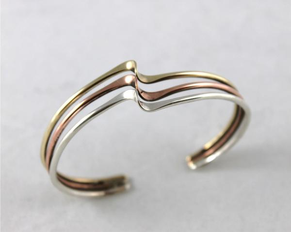 Triple Wave Cuff in Sterling SIlver, Copper and Brass