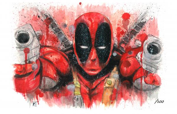 Deadpool Signed & Numbered Spatter Print