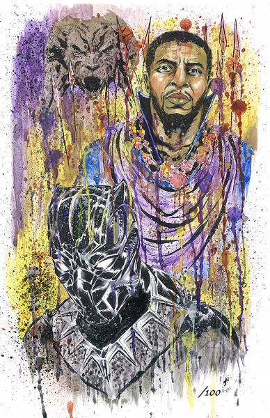 Black Panther Signed & Numbered Spatter Print