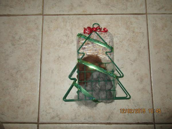Christmas Tree wire suet feeder/nester with suit and Alpaca fiber for nesting picture