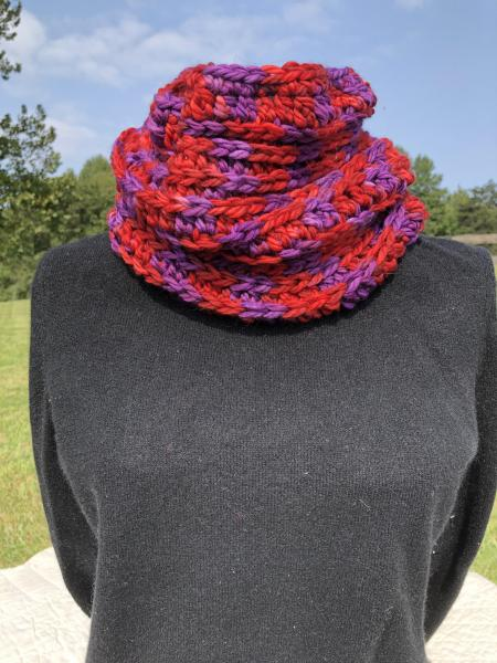 Crocheted Merino wool hand painted cowl - red and purple