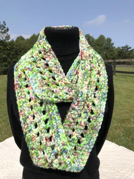 Crocheted Merino wool hand painted infinity scarf
