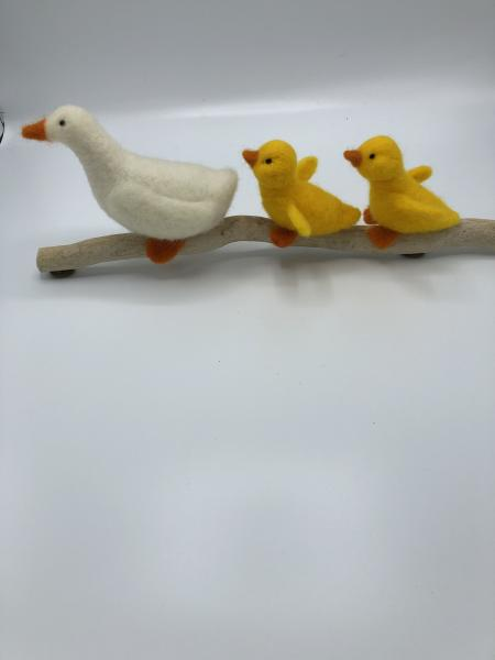 Needle felted duckling family