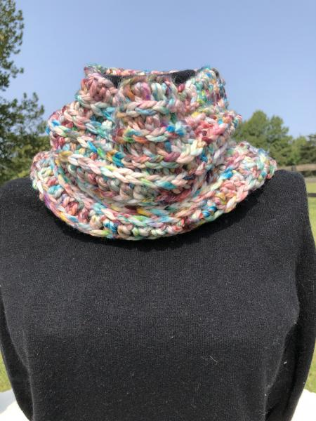 Crocheted Merino wool hand painted cowl