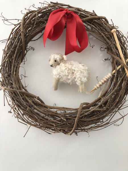 Knitting sheep wreath