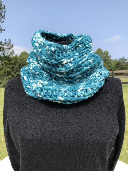 Crocheted Merino wool hand painted cowl- shade of teal