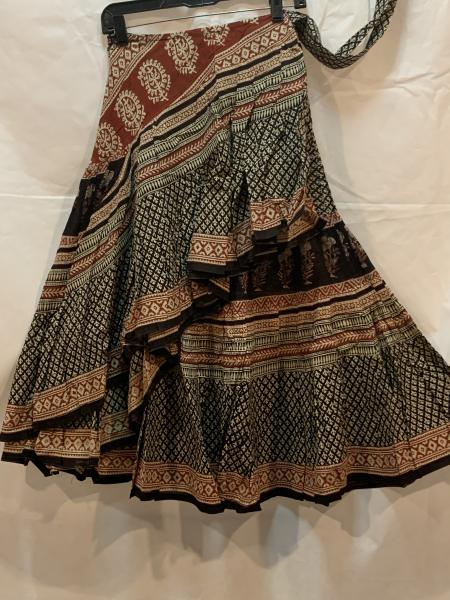 Half Block Print Wrap Skirt 33BPH