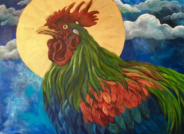 Giclee Print: Moonlight Rooster