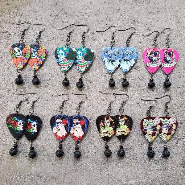 Día de los Muertos Guitar Pick Earrings picture