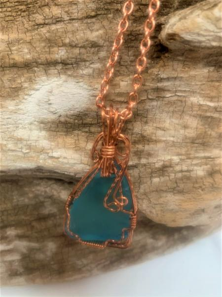 Turquoise Sea Glass Wrapped with Copper Wire Necklace #648