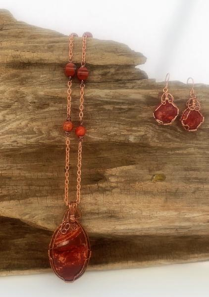 Copper Wrapped Red Jasper Necklace #646