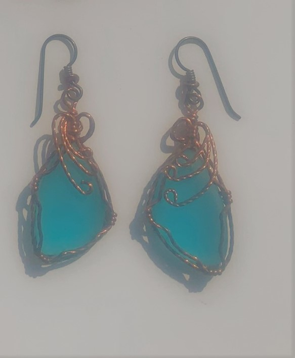 Turquoise Sea Glass Wrapped with Copper Wire Earrings #618