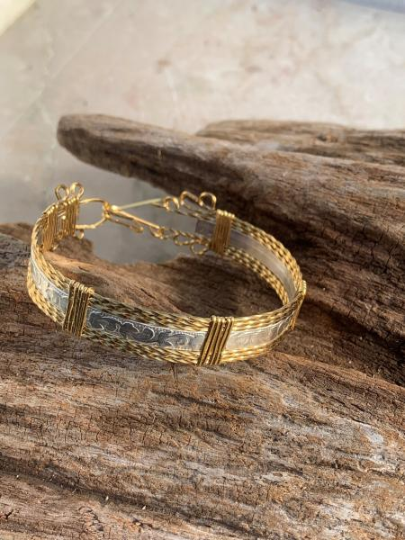 Embossed Silver and Brass Bracelet #710