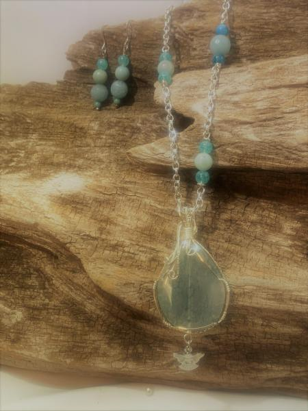 Aqua Agate with Angel Charm Necklace #423 picture
