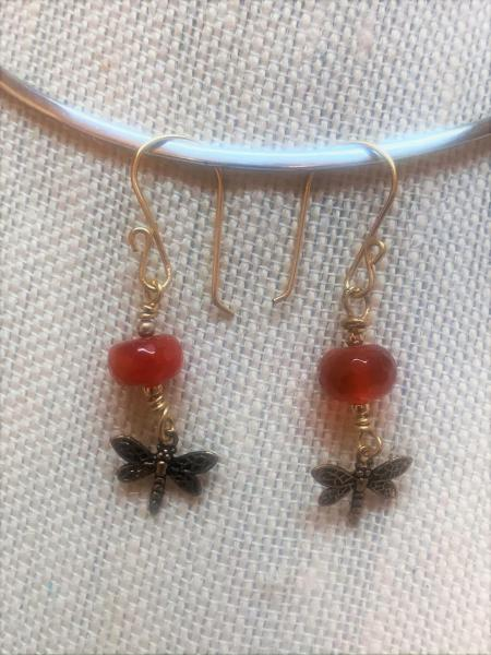 Dragonfly and Carnelian Earrings #1205