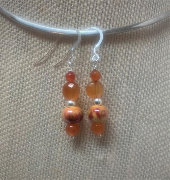 Carnelian Agate Drop Earrings #318