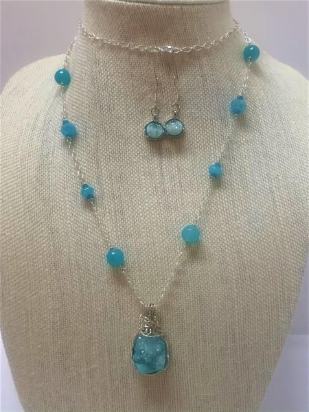 Turquoise Druzy Sterling Silver Necklace #103