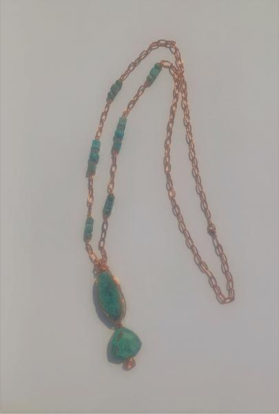 Turquoise Jasper Double Pendant Necklace #619