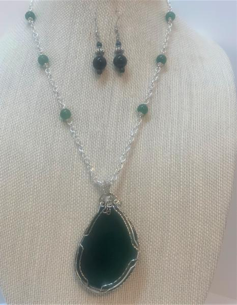 Moss Agate Wire Wrapped Necklace #410